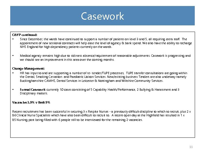 Casework C&YP continued: • Since December, the wards have continued to support a number