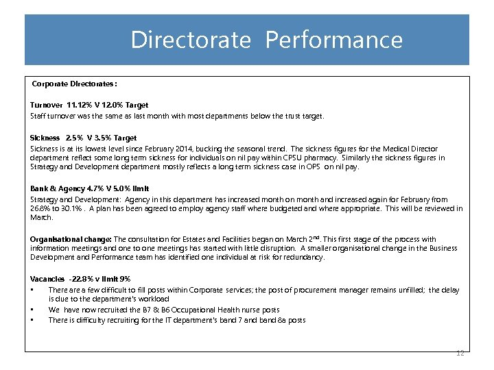 Directorate Performance Corporate Directorates : Turnover 11. 12% V 12. 0% Target Staff