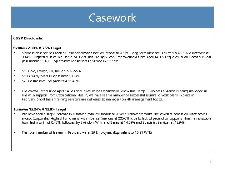 Casework C&YP Directorate: Sickness 2. 80% V 3. 5% Target • Sickness absence has