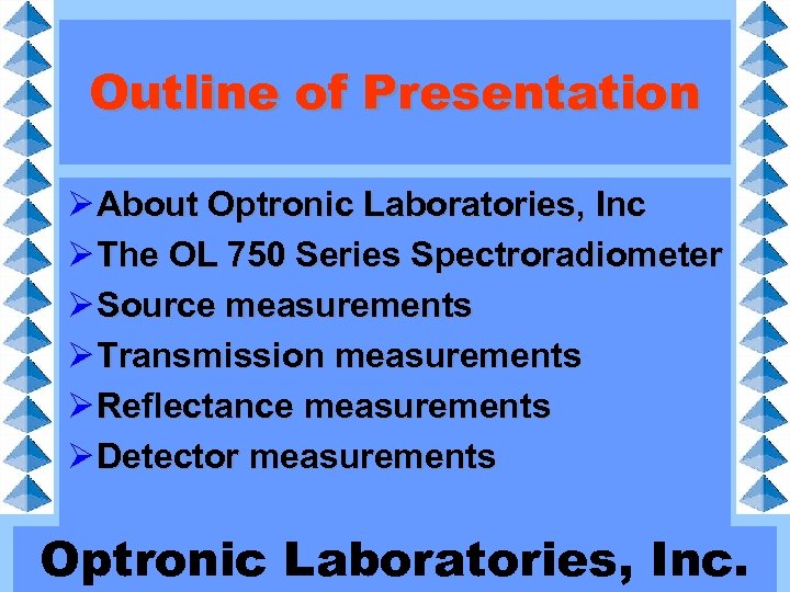 Outline of Presentation Ø About Optronic Laboratories, Inc Ø The OL 750 Series Spectroradiometer