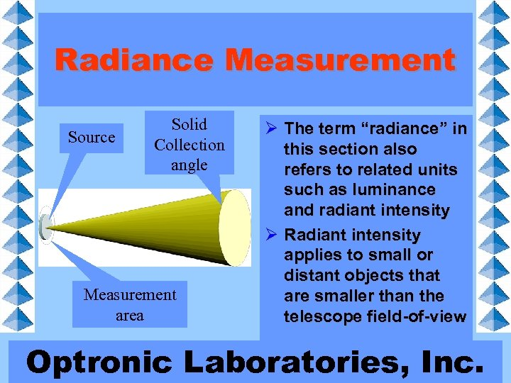 """Radiance Measurement Source Solid Collection angle Measurement area Ø The term """"radiance"""" in this"""