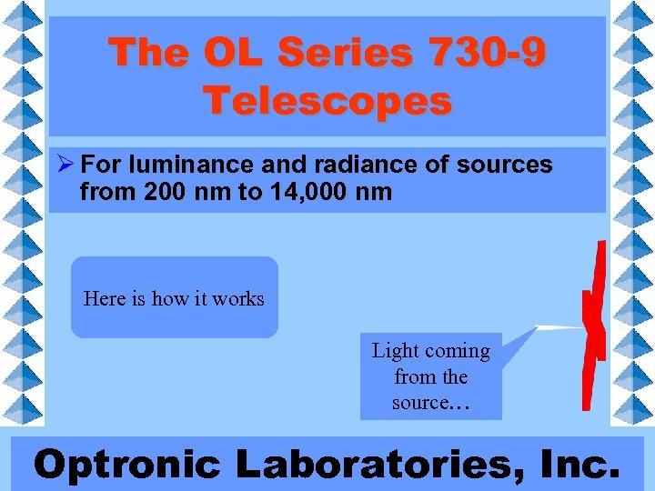 The OL Series 730 -9 Telescopes Ø For luminance and radiance of sources from