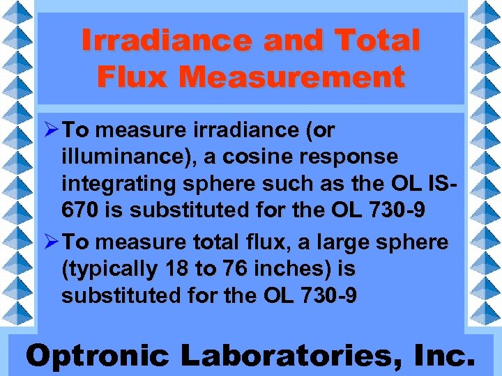 Irradiance and Total Flux Measurement Ø To measure irradiance (or illuminance), a cosine response