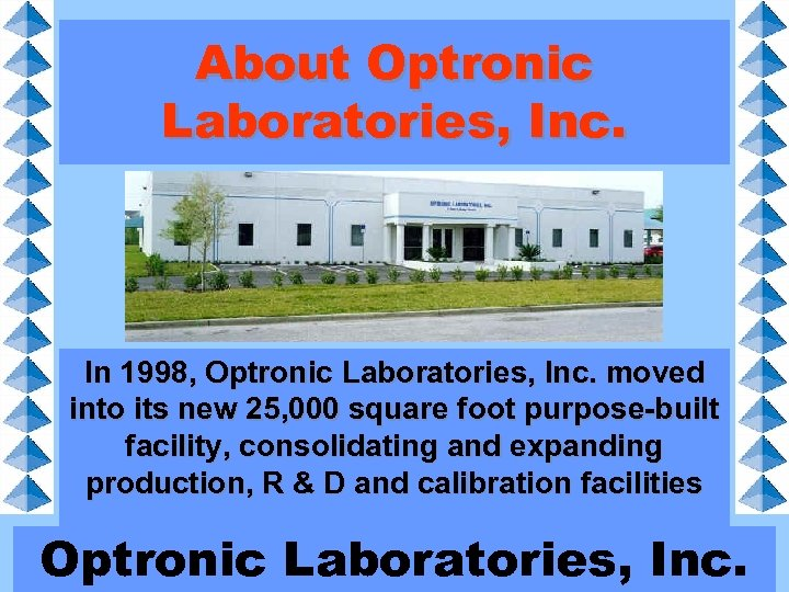 About Optronic Laboratories, Inc. In 1998, Optronic Laboratories, Inc. moved into its new 25,