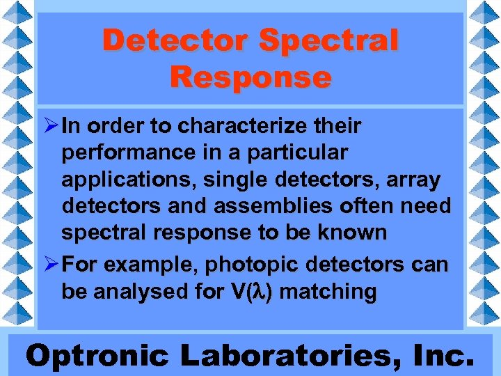 Detector Spectral Response Ø In order to characterize their performance in a particular applications,