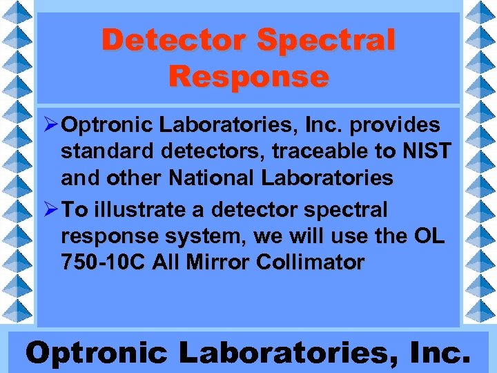 Detector Spectral Response Ø Optronic Laboratories, Inc. provides standard detectors, traceable to NIST and