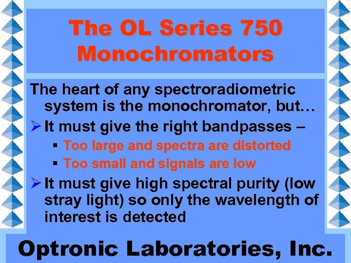 The OL Series 750 Monochromators The heart of any spectroradiometric system is the monochromator,