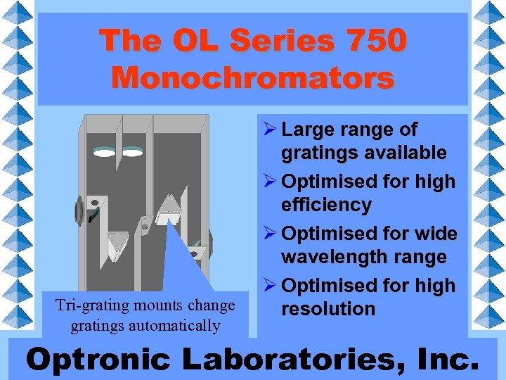 The OL Series 750 Monochromators Tri-grating mounts change gratings automatically Ø Large range of