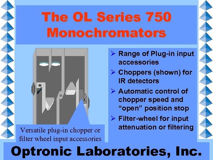 The OL Series 750 Monochromators Versatile plug-in chopper or filter wheel input accessories Ø