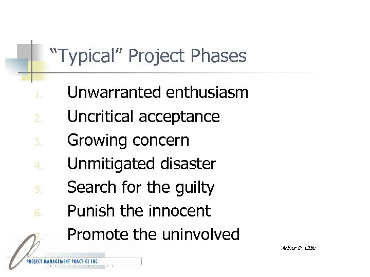 """Typical"" Project Phases 1. 2. 3. 4. 5. 6. 7. Unwarranted enthusiasm Uncritical acceptance"