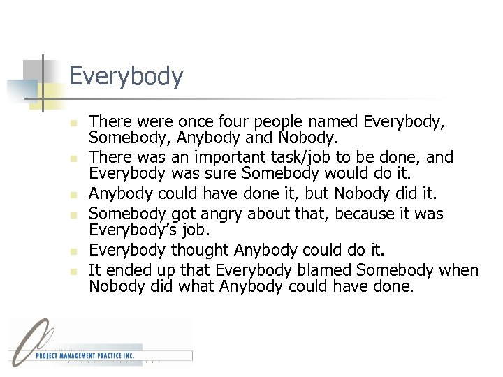 Everybody n n n There were once four people named Everybody, Somebody, Anybody and