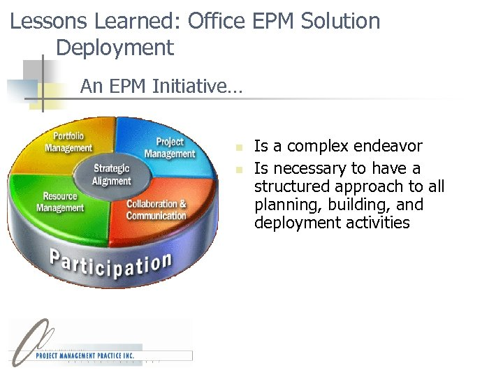 Lessons Learned: Office EPM Solution Deployment An EPM Initiative… n n Is a complex