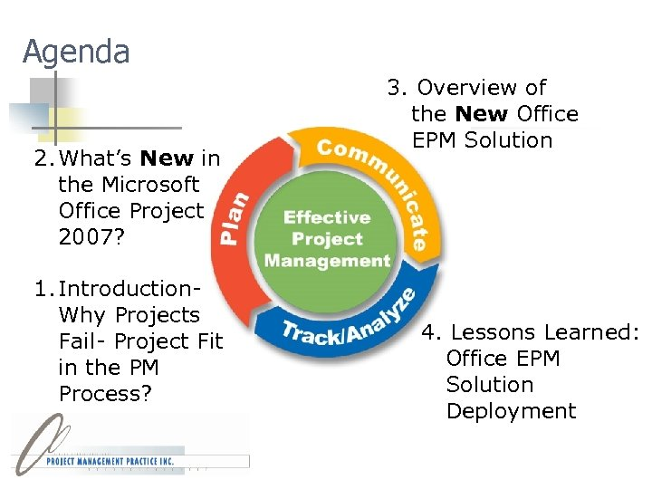 Agenda 2. What's New in the Microsoft Office Project 2007? 1. Introduction. Why Projects