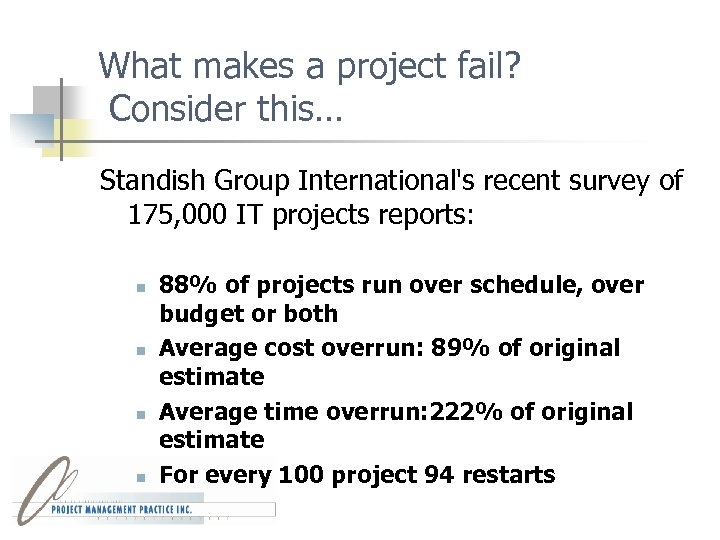 What makes a project fail? Consider this… Standish Group International's recent survey of 175,