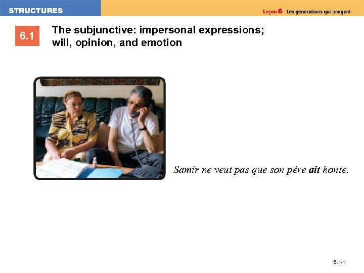6. 1 The subjunctive: impersonal expressions; will, opinion, and emotion Samir ne veut pas
