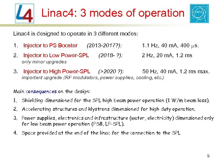 Linac 4: 3 modes of operation Linac 4 is designed to operate in 3