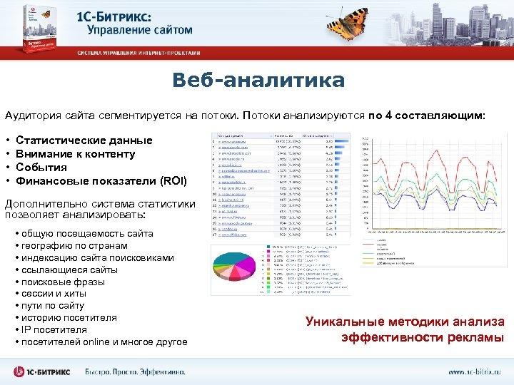 Веб-аналитика Аудитория сайта сегментируется на потоки. Потоки анализируются по 4 составляющим: • • Статистические