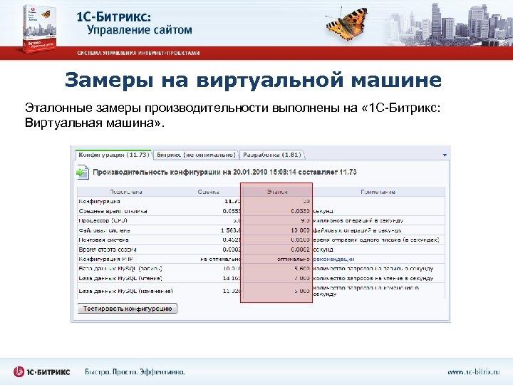 Замеры на виртуальной машине Эталонные замеры производительности выполнены на « 1 С-Битрикс: Виртуальная машина»
