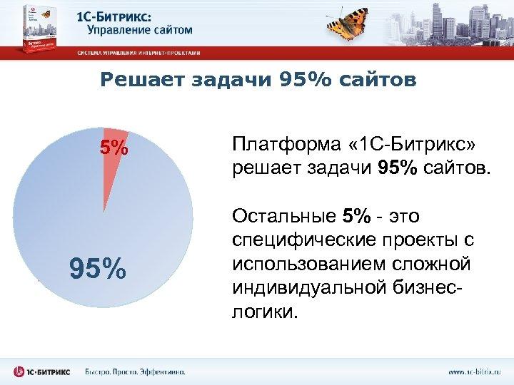 Решает задачи 95% сайтов 5% 95% Платформа « 1 С-Битрикс» решает задачи 95% сайтов.