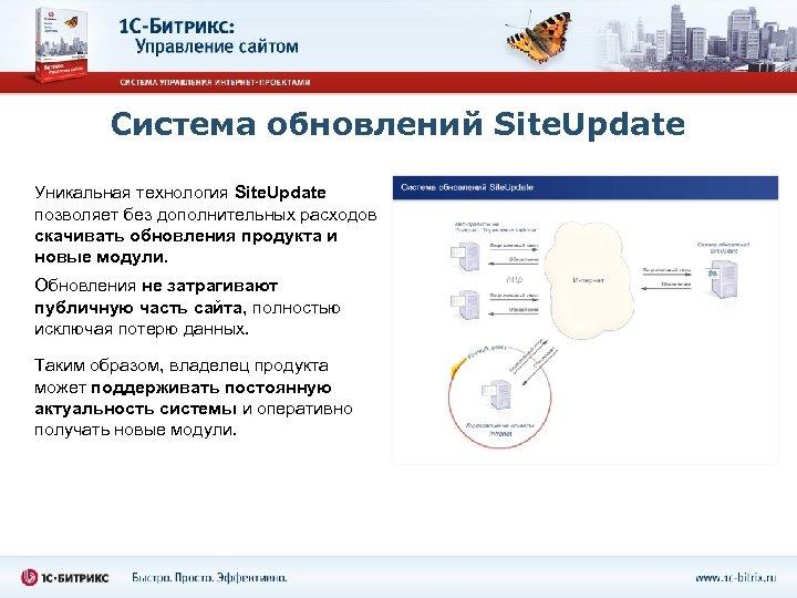 Система обновлений Site. Update Уникальная технология Site. Update позволяет без дополнительных расходов скачивать обновления