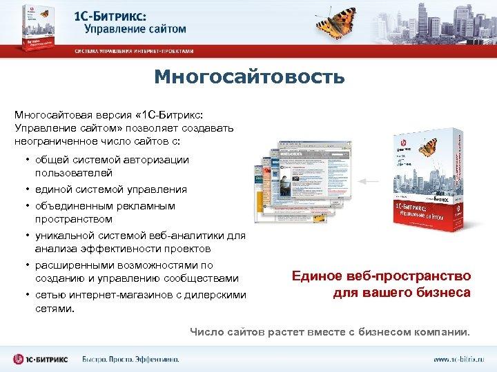 Многосайтовость Многосайтовая версия « 1 С-Битрикс: Управление сайтом» позволяет создавать неограниченное число сайтов с:
