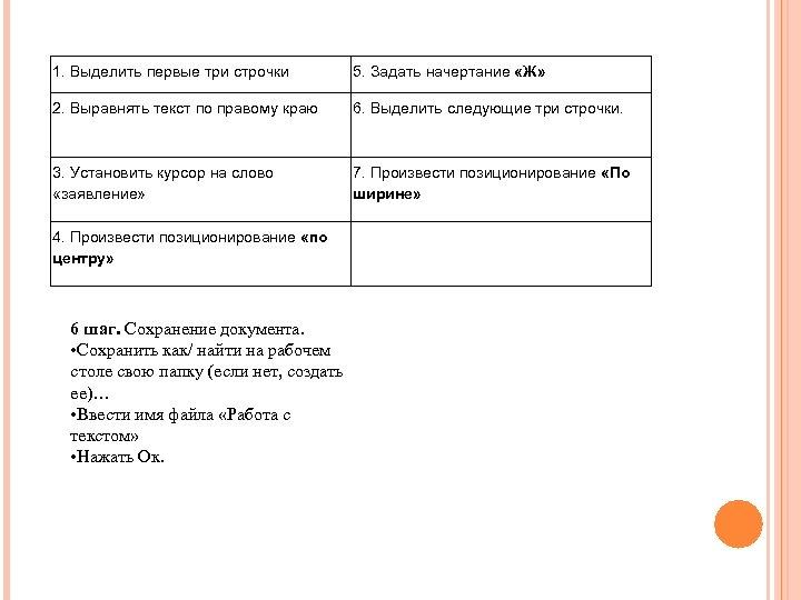 1. Выделить первые три строчки 5. Задать начертание «Ж» 2. Выравнять текст по правому