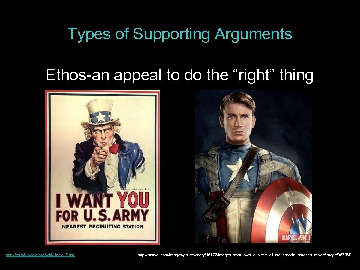 "Types of Supporting Arguments Ethos-an appeal to do the ""right"" thing http: //en. wikipedia."