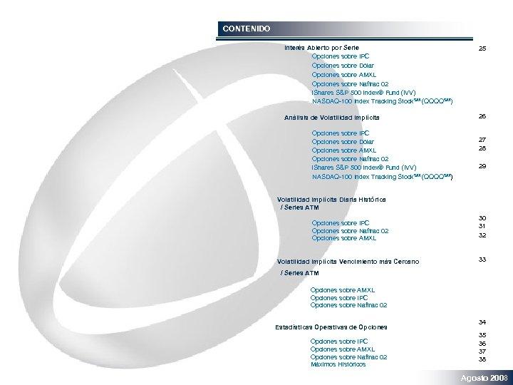 CONTENIDO Interés Abierto por Serie Opciones sobre IPC Opciones sobre Dólar Opciones sobre AMXL