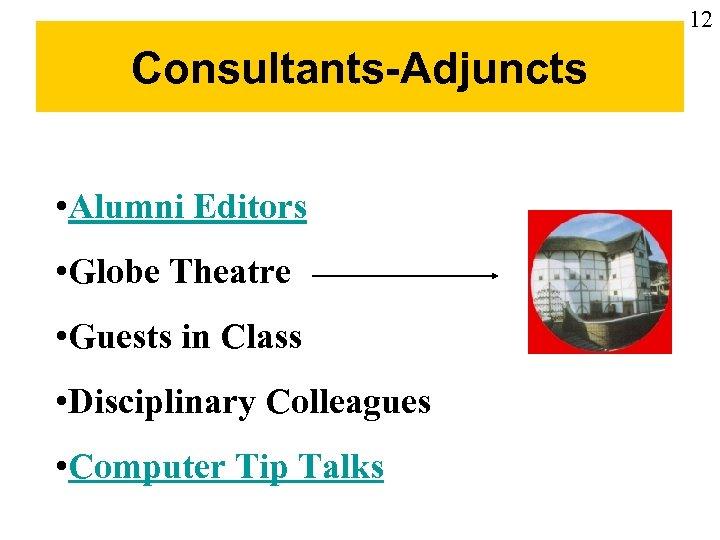 12 Consultants-Adjuncts • Alumni Editors • Globe Theatre • Guests in Class • Disciplinary