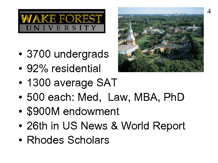 4 • • 3700 undergrads 92% residential 1300 average SAT 500 each: Med, Law,