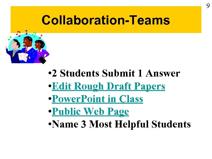 9 Collaboration-Teams • 2 Students Submit 1 Answer • Edit Rough Draft Papers •