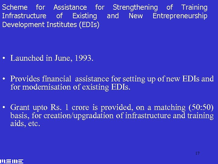 Scheme for Assistance for Strengthening of Training Infrastructure of Existing and New Entrepreneurship Development