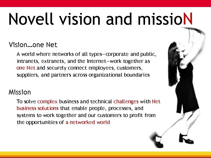 Vision…one Net A world where networks of all types—corporate and public, intranets, extranets, and