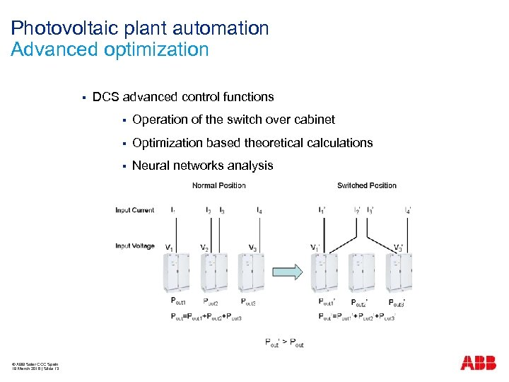 Photovoltaic plant automation Advanced optimization § DCS advanced control functions § § Optimization based