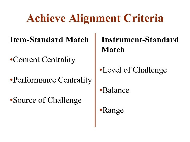 Achieve Alignment Criteria Item-Standard Match • Content Centrality • Performance Centrality • Source of