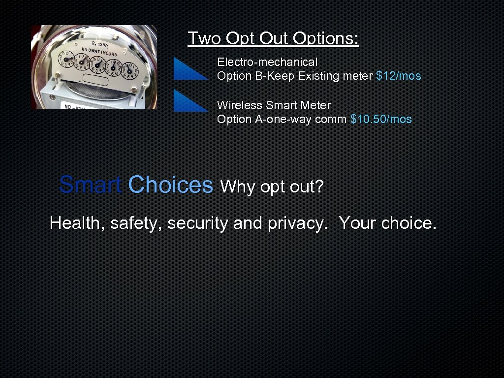 Two Opt Out Options: Electro-mechanical Option B-Keep Existing meter $12/mos Wireless Smart Meter Option