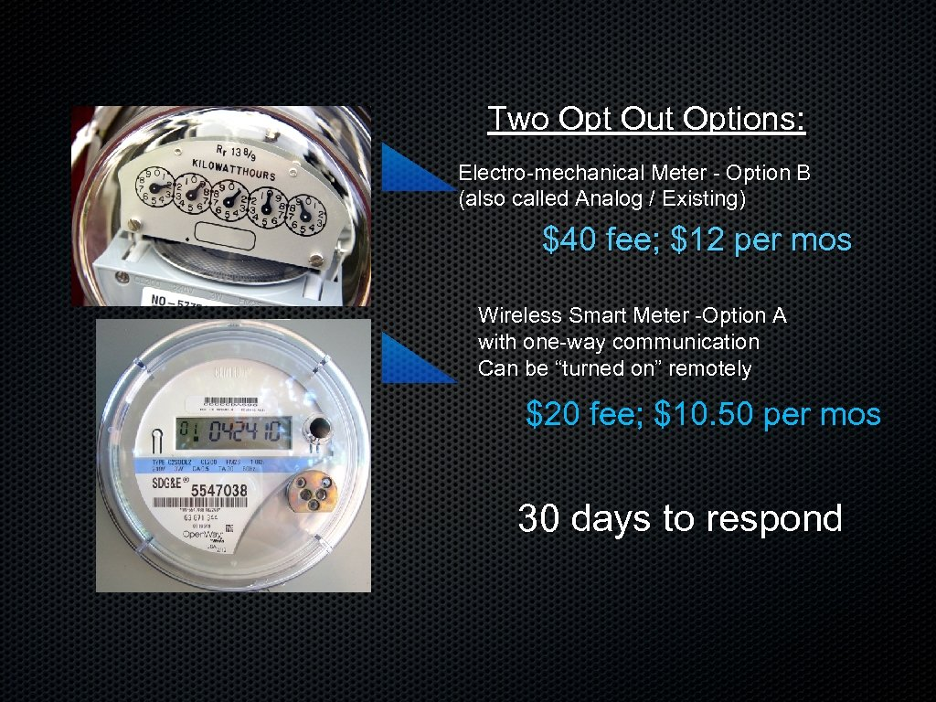 Two Opt Out Options: Electro-mechanical Meter - Option B (also called Analog / Existing)