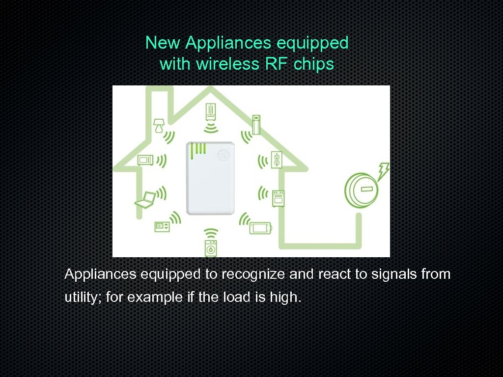 New Appliances equipped with wireless RF chips Appliances equipped to recognize and react to