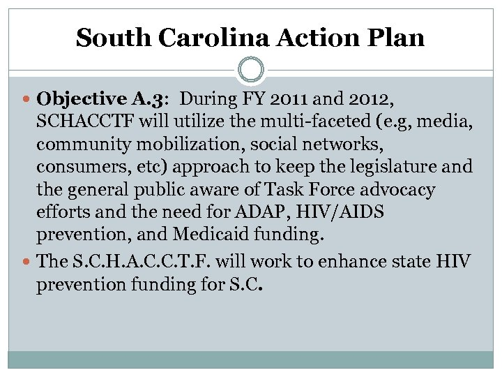 South Carolina Action Plan Objective A. 3: During FY 2011 and 2012, SCHACCTF will