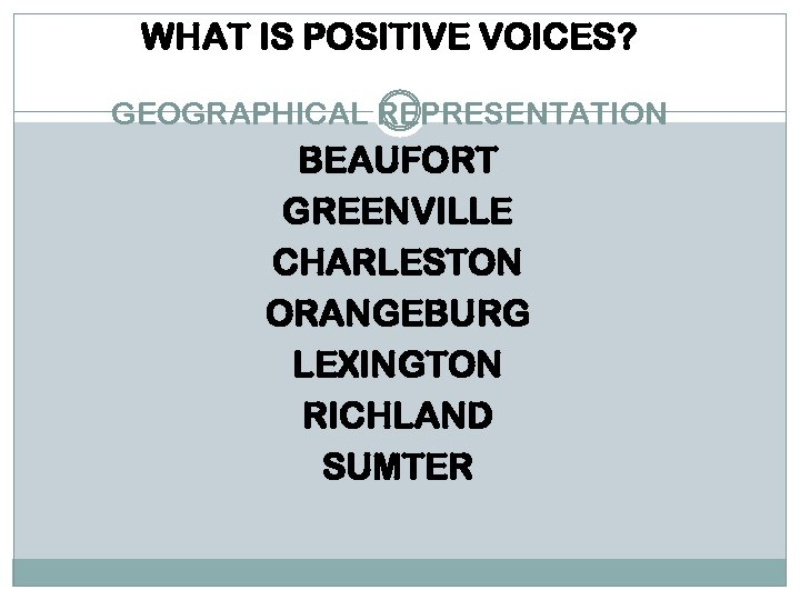 WHAT IS POSITIVE VOICES? GEOGRAPHICAL REPRESENTATION BEAUFORT GREENVILLE CHARLESTON ORANGEBURG LEXINGTON RICHLAND SUMTER