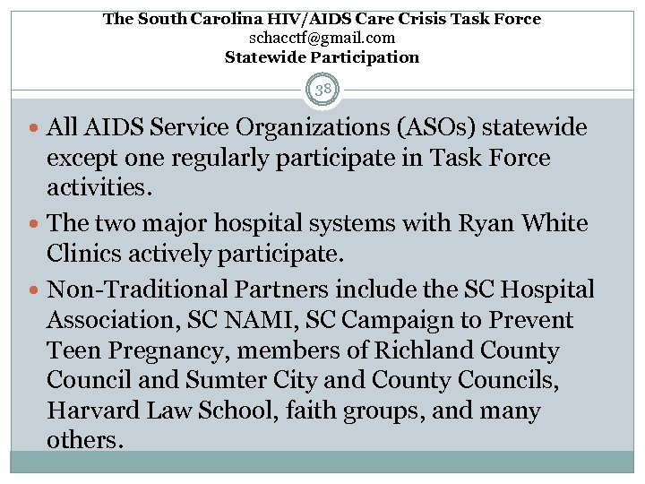 The South Carolina HIV/AIDS Care Crisis Task Force schacctf@gmail. com Statewide Participation 38 All