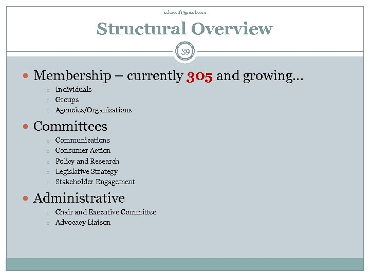 schacctf@gmail. com Structural Overview 39 Membership – currently 305 and growing… o o o