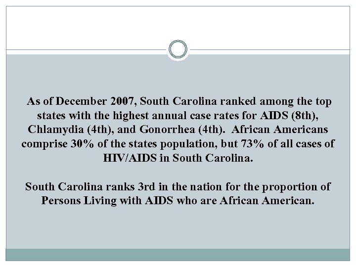 As of December 2007, South Carolina ranked among the top states with the highest