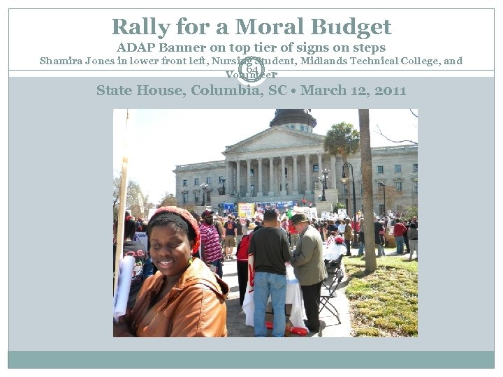 Rally for a Moral Budget ADAP Banner on top tier of signs on steps