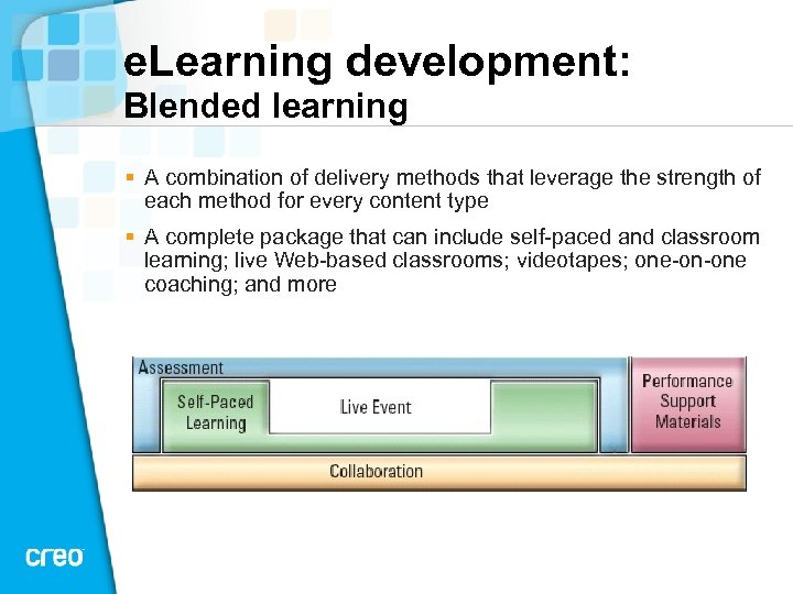 e. Learning development: Blended learning § A combination of delivery methods that leverage the