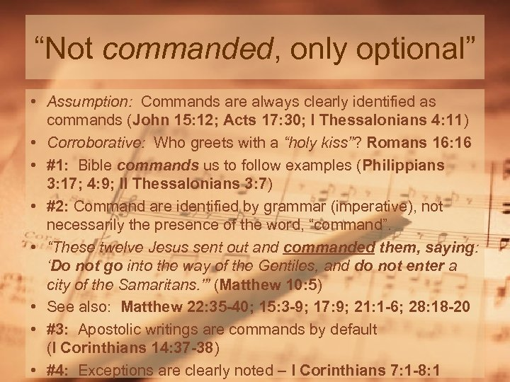 """""""Not commanded, only optional"""" • Assumption: Commands are always clearly identified as commands (John"""