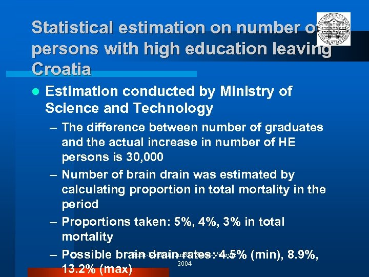 Statistical estimation on number of persons with high education leaving Croatia l Estimation conducted