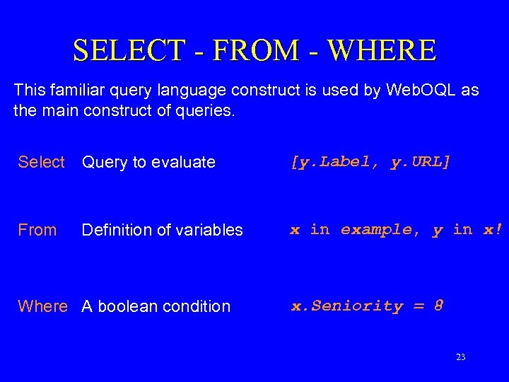 SELECT - FROM - WHERE This familiar query language construct is used by Web.