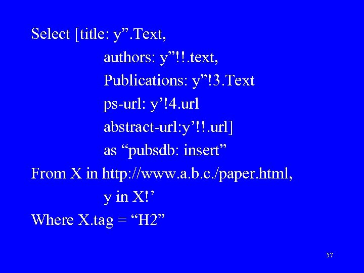 """Select [title: y"""". Text, authors: y""""!!. text, Publications: y""""!3. Text ps-url: y'!4. url abstract-url:"""