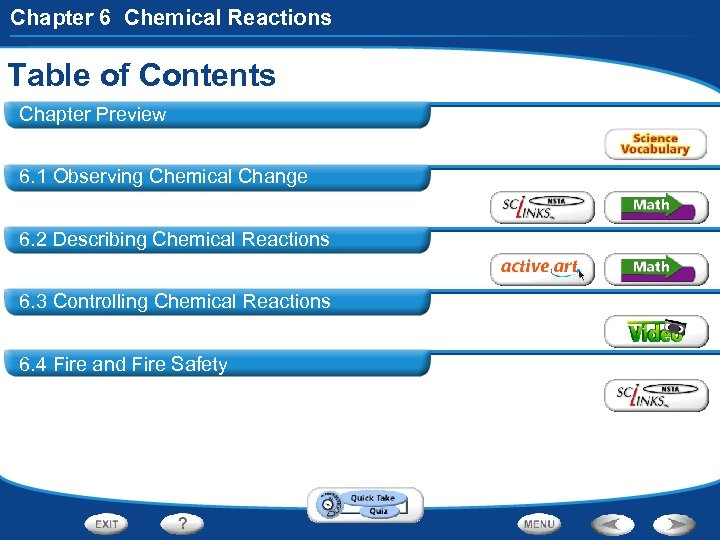Chapter 6 Chemical Reactions Table of Contents Chapter Preview 6. 1 Observing Chemical Change